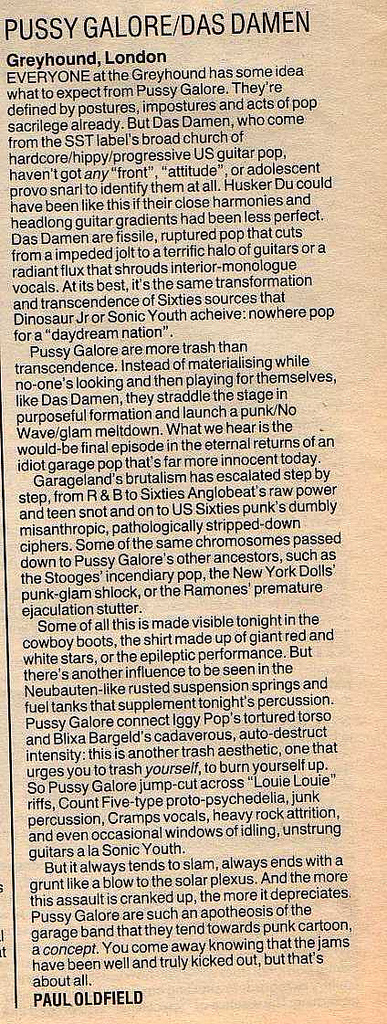 Pussy Galore / Das Damen - Melody Maker: Greyhound, London (PRESS, UK)