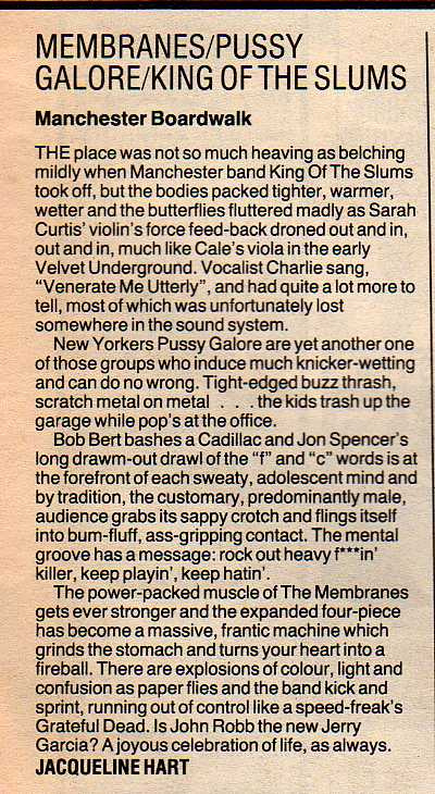 Pussy Galore - Melody Maker: Manchester Boardwalk [Review] (PRESS, UK)