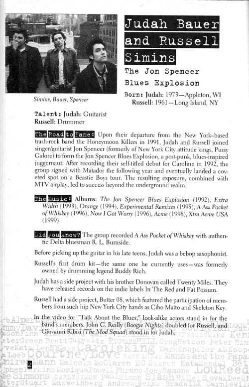 Judah Bauer / Russell Simins / The Jon Spencer Blues Explosion - Jews Who Rock (PRESS, US) - The Jon Spencer Blues Explosion page