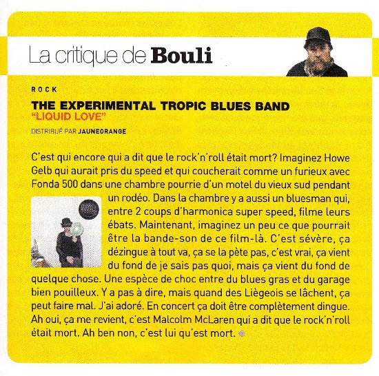 The Experimental Tropic Blues Band – La Critique De Bouli: Liquid Love [Review] (PRESS, BELGIUM)