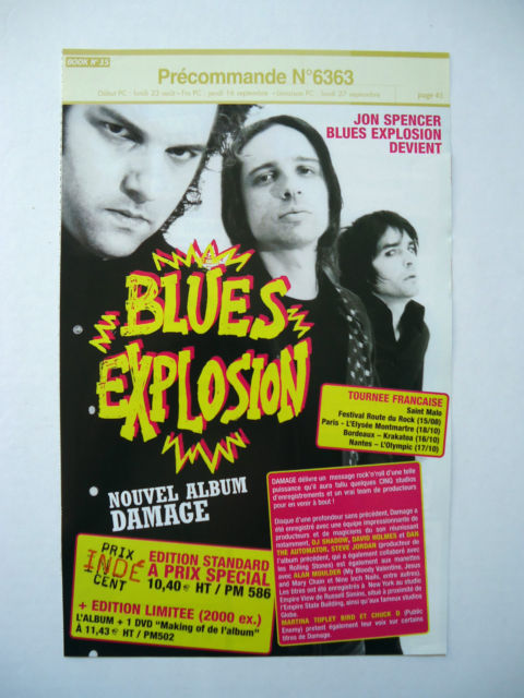 Blues Explosion - Damage (PROMO SHEET, FRANCE)
