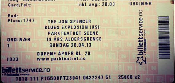 The Jon Spencer Blues Explosion – Parkteatret Scene, Oslo, Norway (17 July 2014)