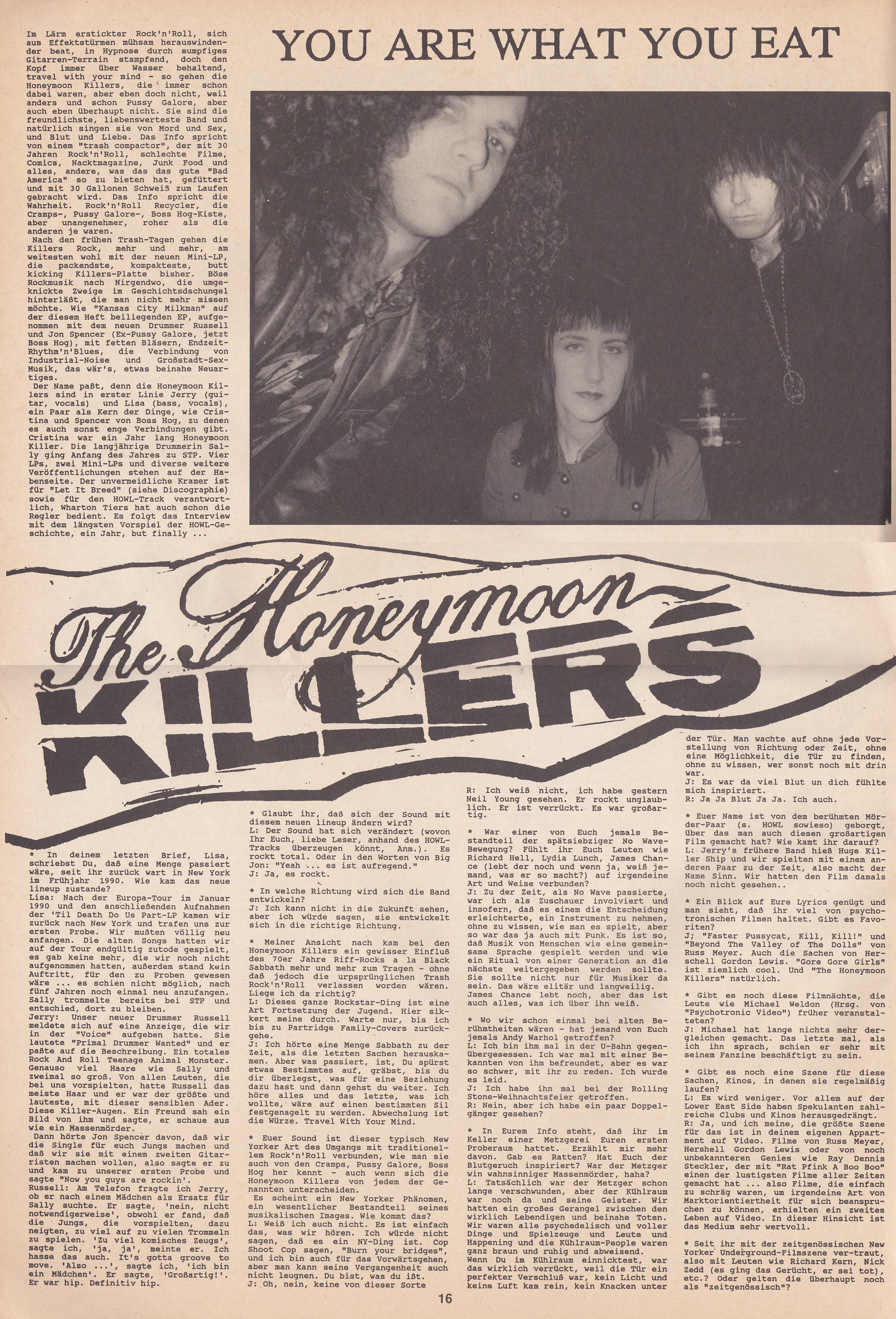 Honeymoon Killers - Howl!: Feature (PRESS, GERMANY) - Page 1