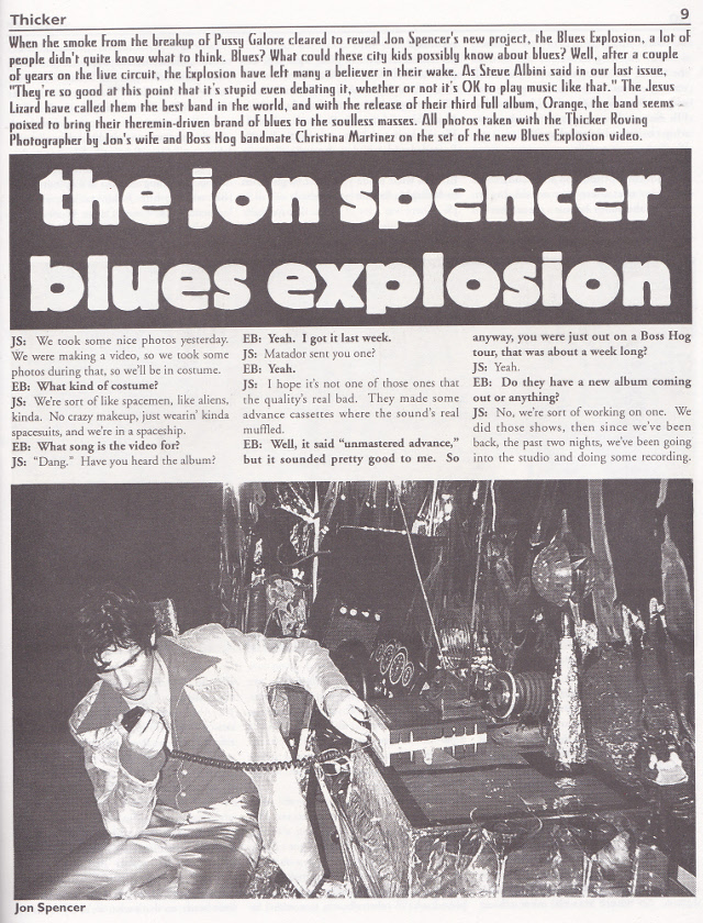 The Jon Spencer Blues Explosion - Thicker: Cover / Interview (PRESS, US)