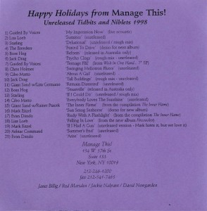 V/A feat. Boss Hog - Happy Holidays From Manage This!: Unreleased Tidbits And Niblets 1998 (CD, US)