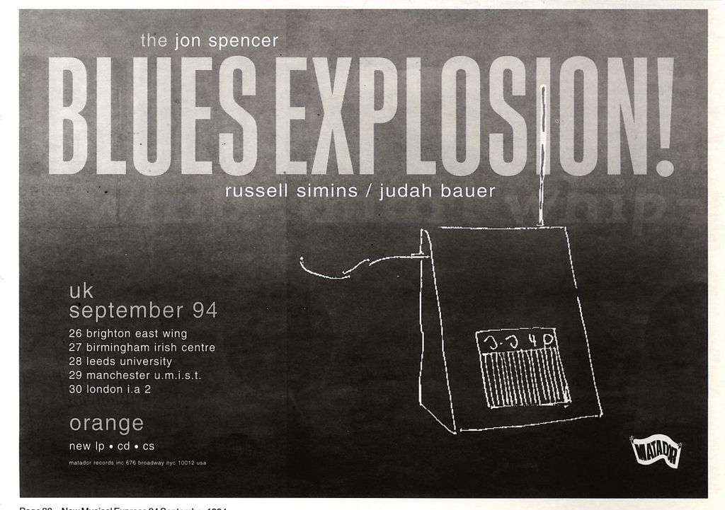 The Jon Spencer Blues Explosion – Orange / Tour Dates (ADVERT, UK)