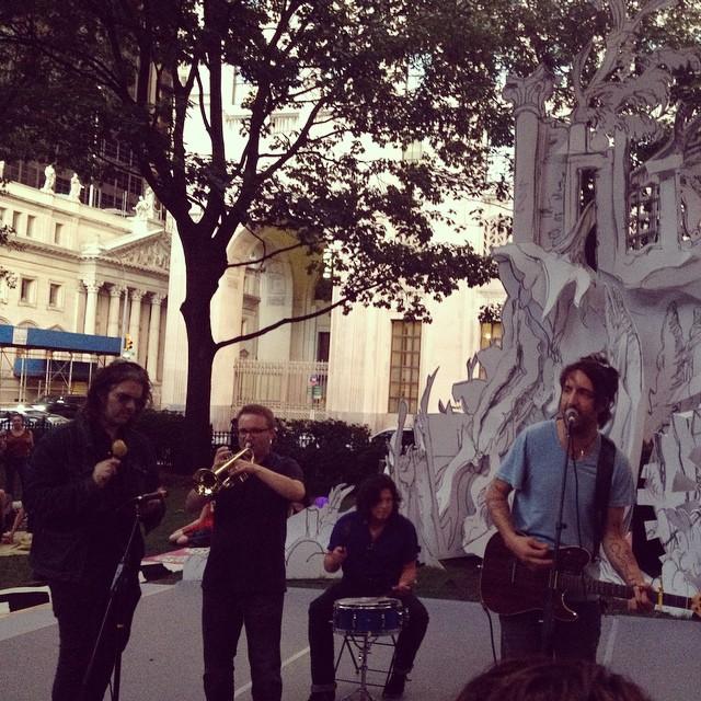 Joseph Arthur and Russell Simins - Madison Square Park, Madison Avenue, New York City, New York, US (3 September 2014)
