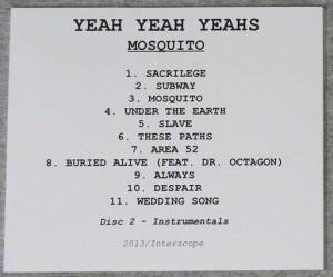 Yeah Yeah Yeahs - Mosquito / Mosquito (Instrumentals) [Promo] (2xCD, US) - Rear Cover