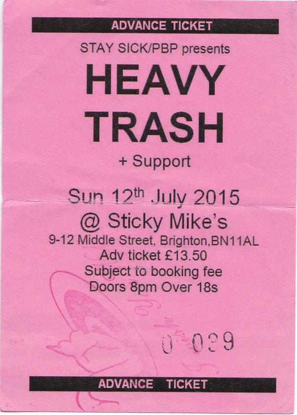 Heavy Trash - Sticky Mikes Frog Bar, Brighton, UK (12 July 2015) - Ticket