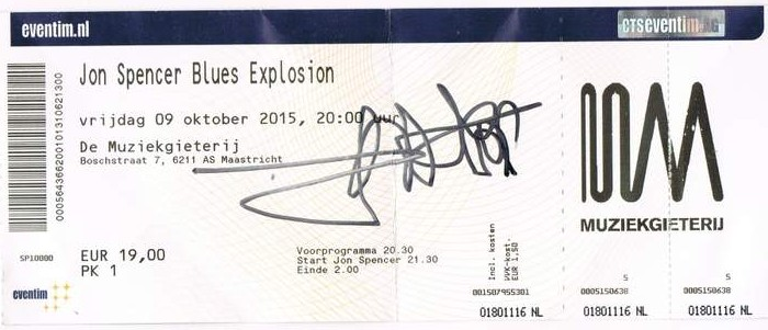 The Jon Spencer Blues Explosion – Muziekgieterij, Maastricht, Netherlands (9 October 2015) - Ticket