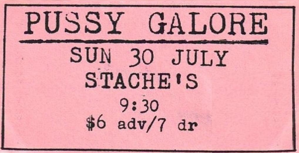 Pussy Galore - Stache's, Columbus, Ohio, US (30 July 1989)