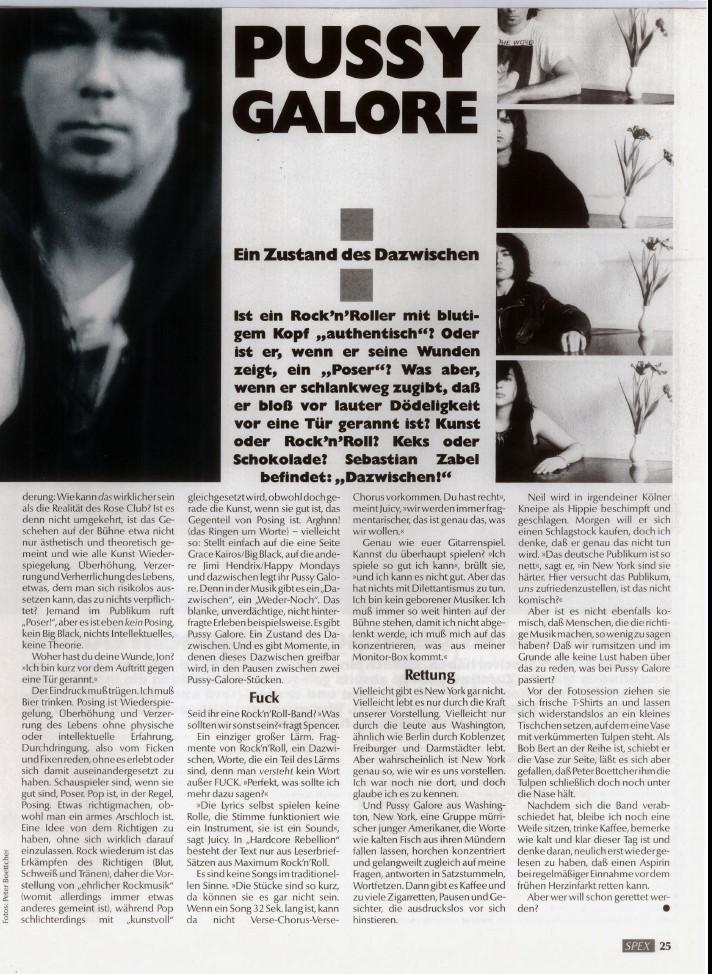 Pussy Galore - Spex: Ein Zustand des Dazwischen (PRESS, GERMANY) - Page Two