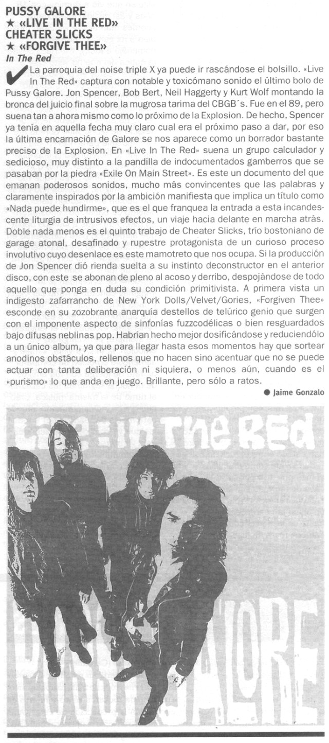Pussy Galore - Ruta 66: Live: In The Red [Review] (PRESS, SPAIN)  - Review