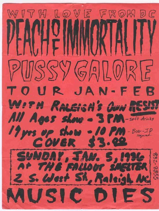 Pussy Galore - The Fallout Shelter, Raleigh, NC, US (5 January 1986)