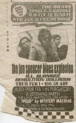 The Jon Spencer Blues Explosion - Unknown Venue (1 February 1996)