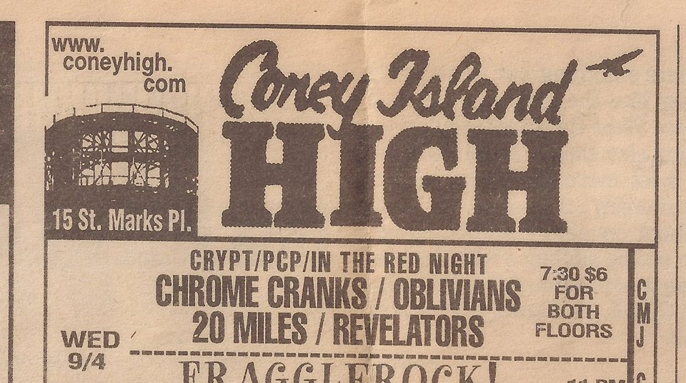 20 Miles - Coney Island High, NYC, New York, US (4 September 1996)