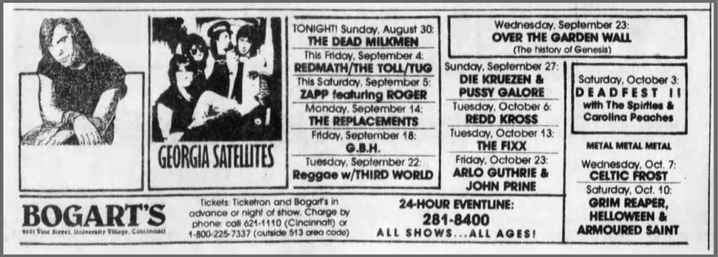 Pussy Galore - Bogart's, Cincinnati, OH, US (27 September 1987)