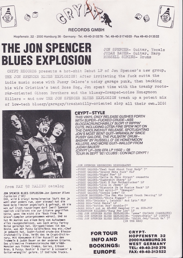 The Jon Spencer Blues Explosion – Crypt Style (PRESS RELEASE